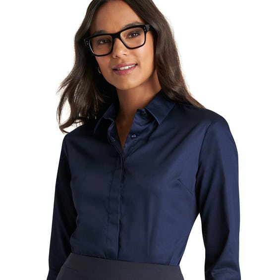 Fitted Navy Stretch Shirt 0
