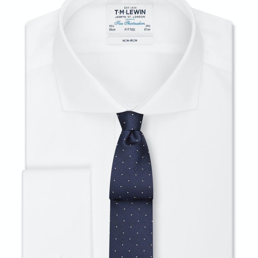 Non-Iron Fitted White Poplin Double Cuff Shirt