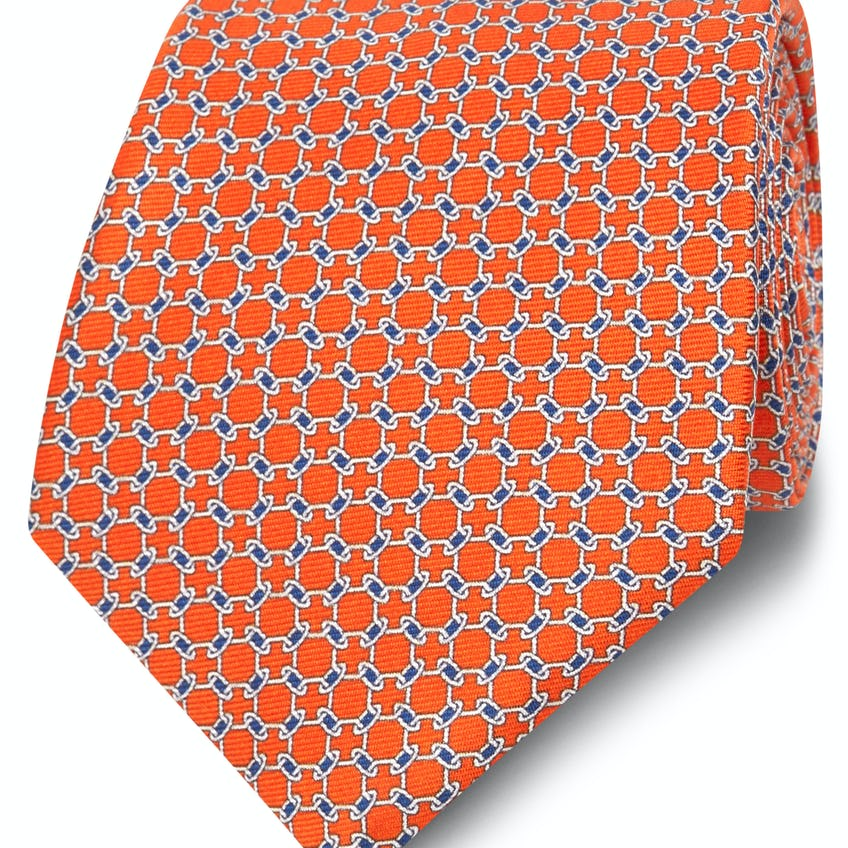 Printed Orange and White Chain Link Silk Wide Tie 0