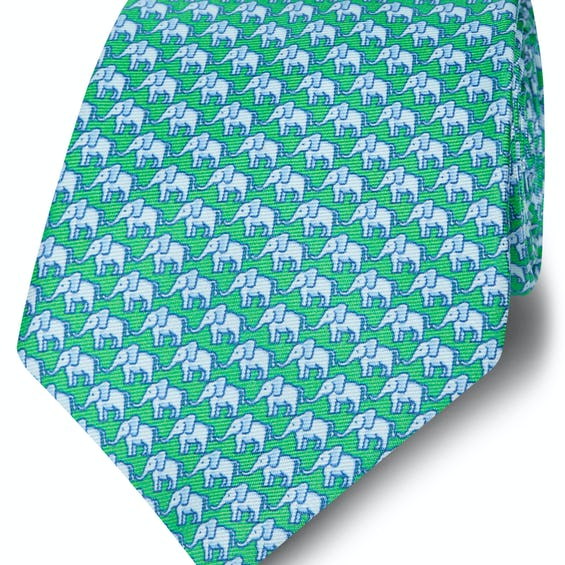 Made in Italy Wide Green and Blue Elephant Silk Tie 0