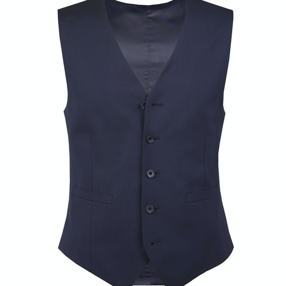 Perry Slim Fit Navy Blue Mohair Waistcoat 0
