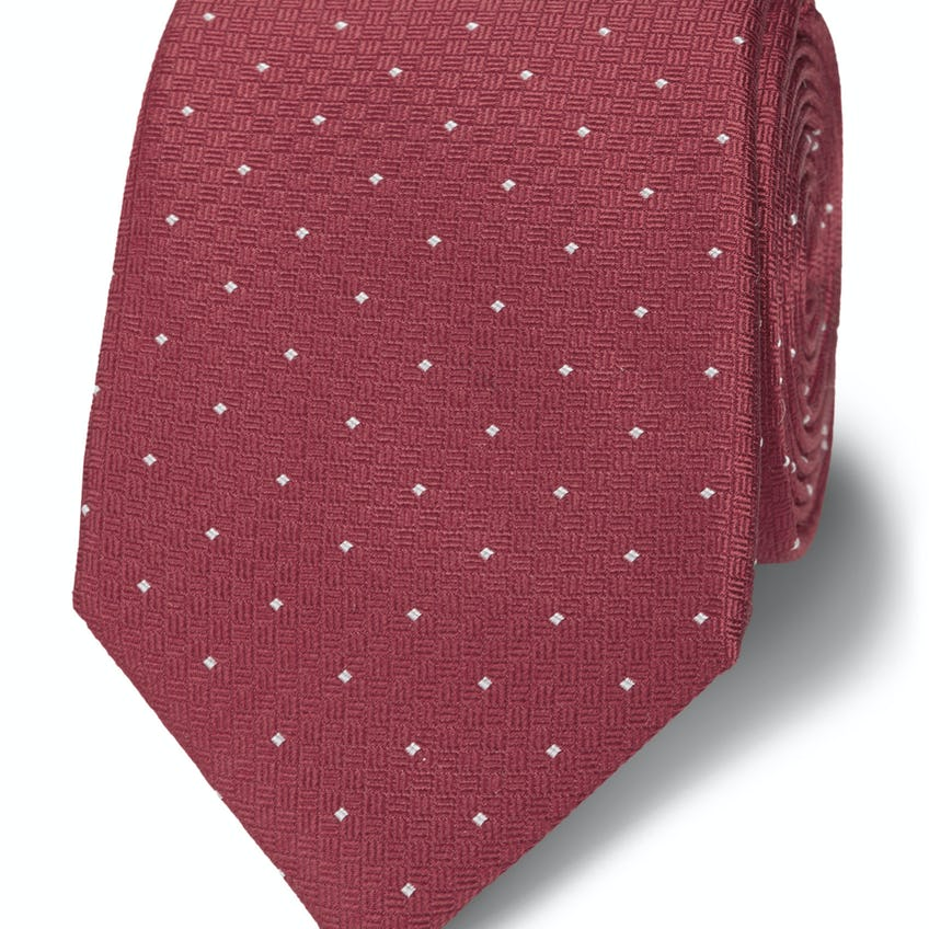 Textured Slim Pink and White Pin Spot Silk Tie 0
