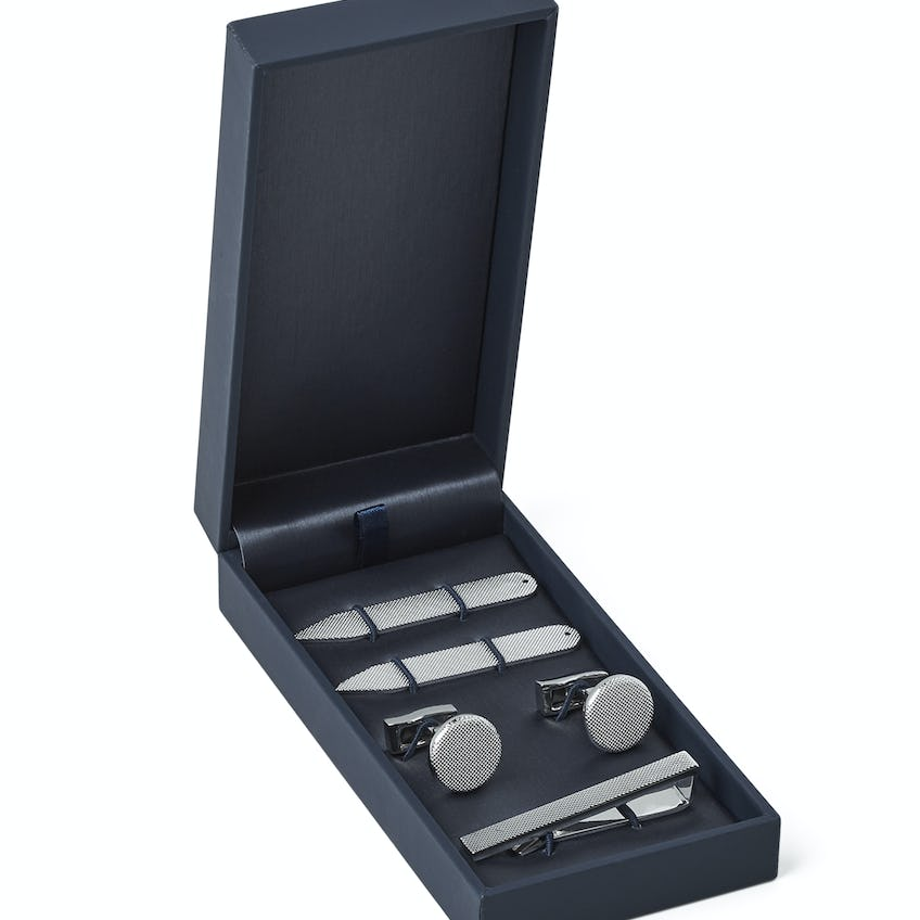 Silver Knurled Shirt Accessory Gift Set 0