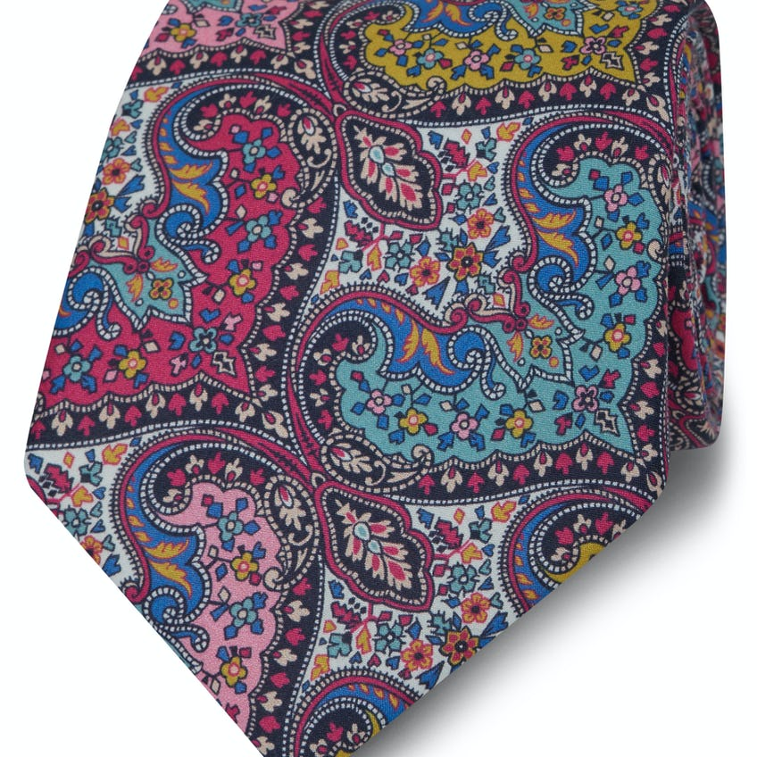 Made with Liberty Fabric Wide Pink Spitalfields Print Tie 0