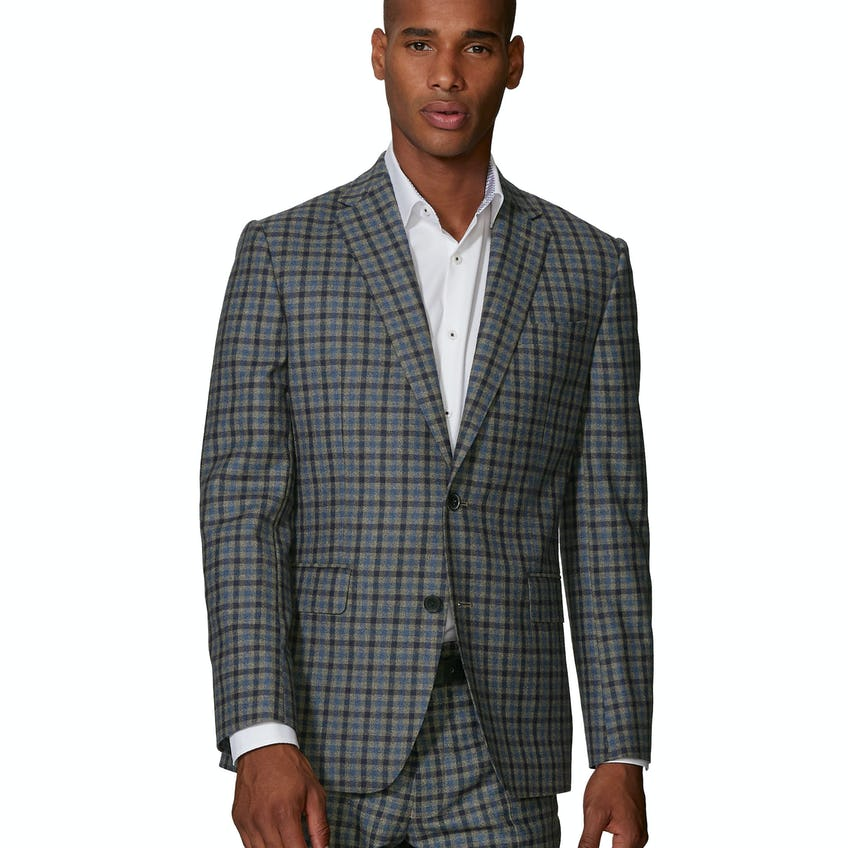 Larkin Barberis Slim Fit Blue and Ginger Check Jacket