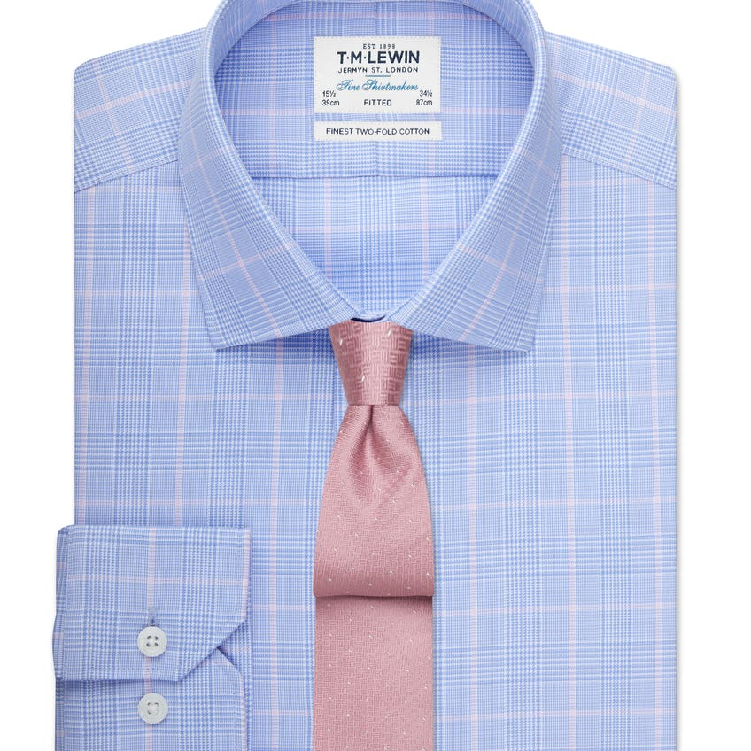 Fitted Blue and Pink Overcheck Shirt 0