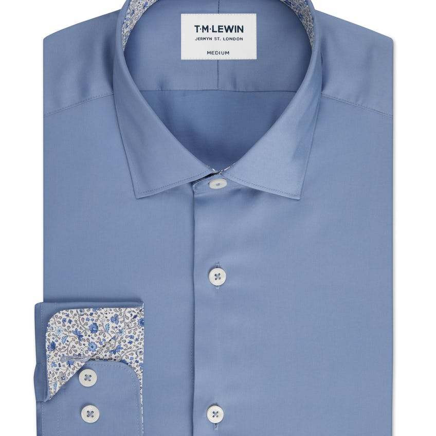 Slim Fit Blue Shirt Made with Liberty Fabric Trim 0