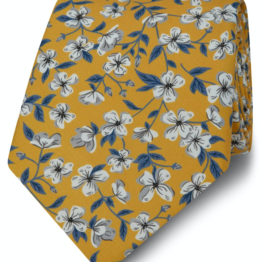 Made with Liberty Fabric Wide Yellow Peach Print Tie 0