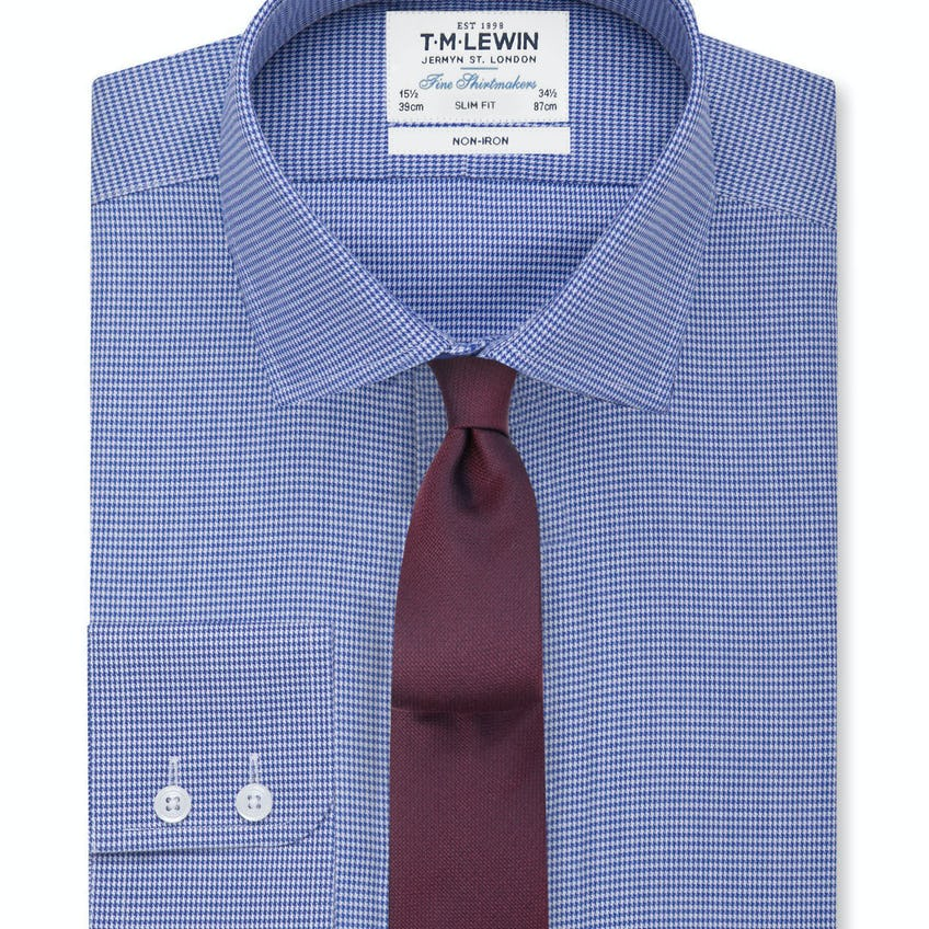 Non-Iron Navy Dogtooth Slim Fit Shirt 0