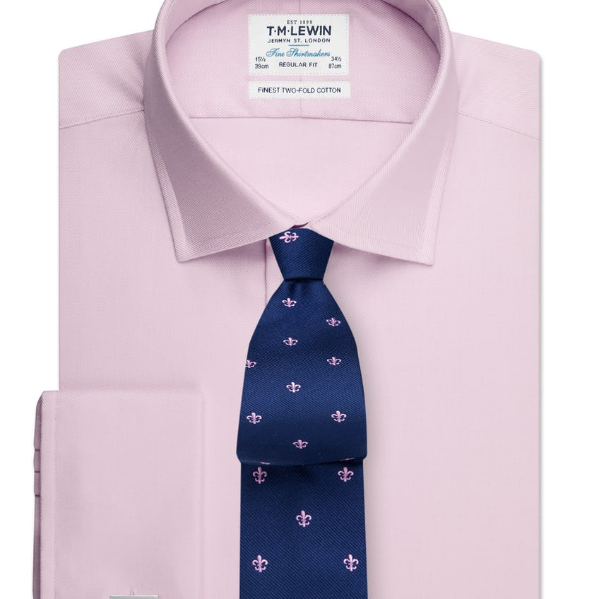Regular Fit Plain Pink Luxury Twill Double Cuff Shirt