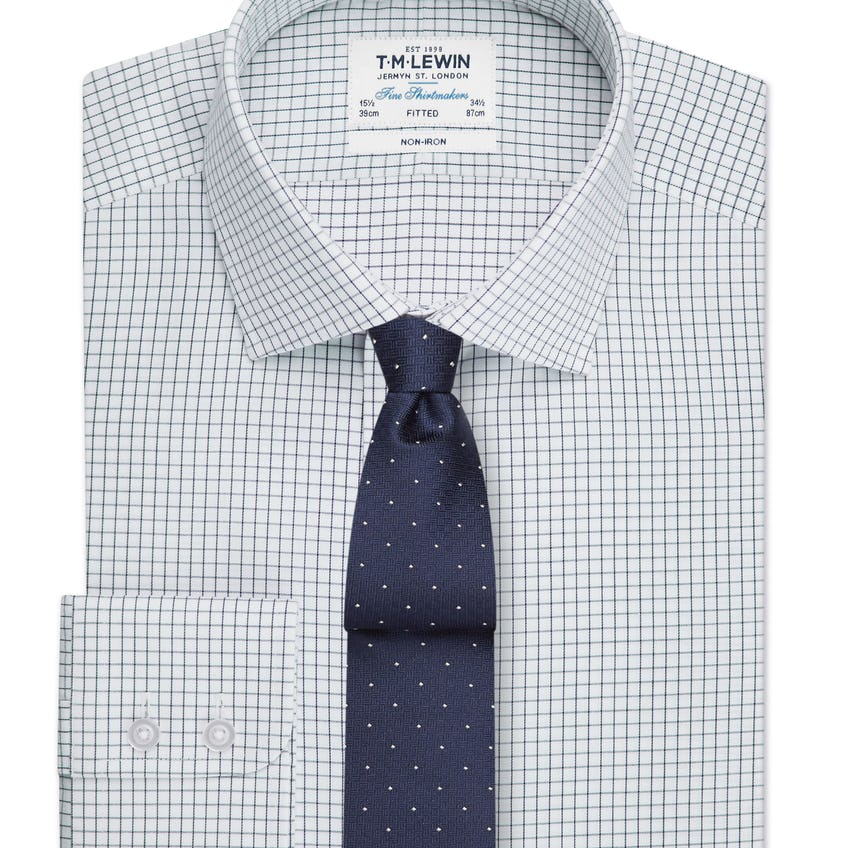 Non-Iron Fitted Navy Check Single Cuff Shirt 0