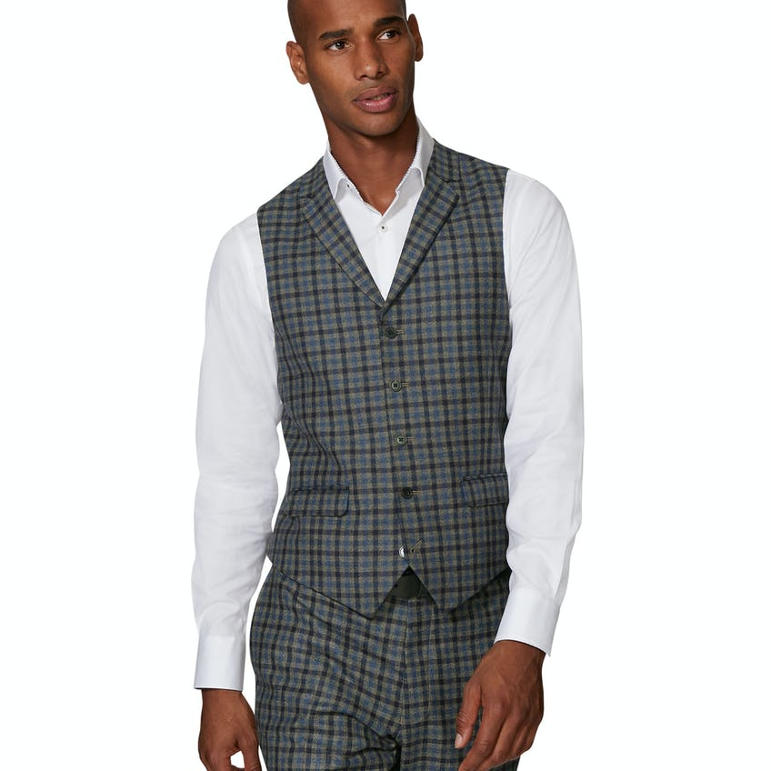 Larkin Barberis Slim Fit Blue and Ginger Check Waistcoat