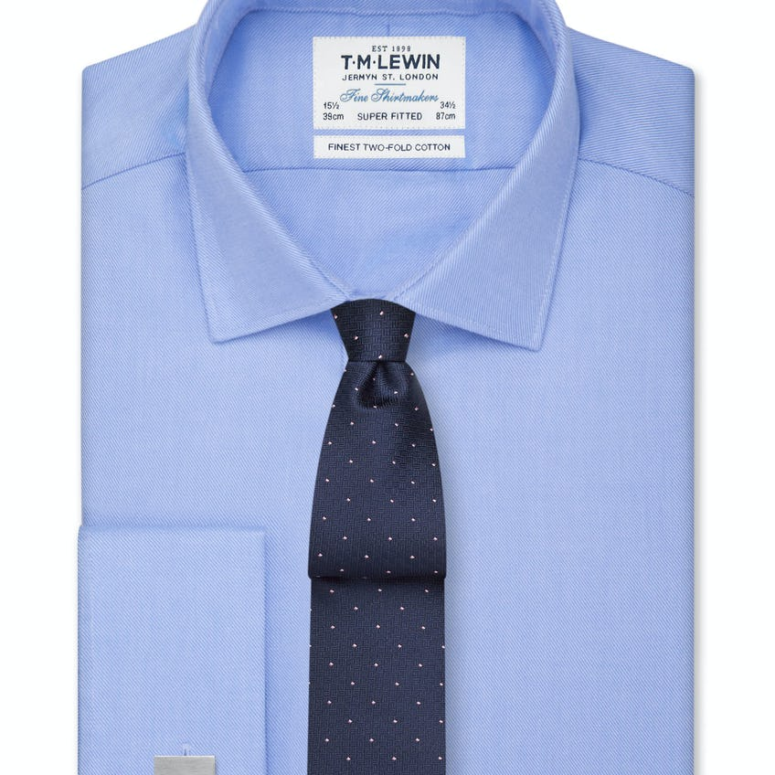 Super Fitted Blue Twill Double Cuff Shirt 0
