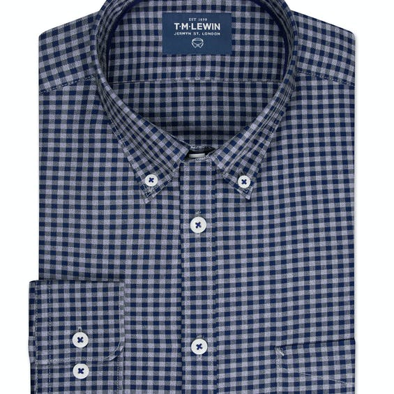 Slim Fit Navy and Grey Gingham Single Cuff Shirt 0