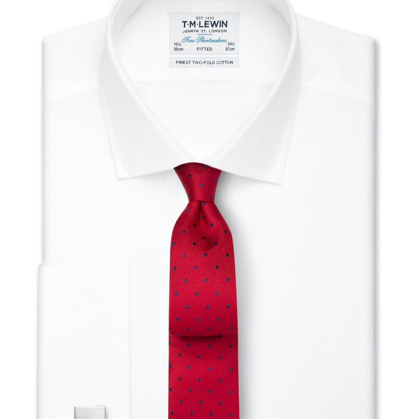 White Poplin Fitted Double Cuff Shirt 0