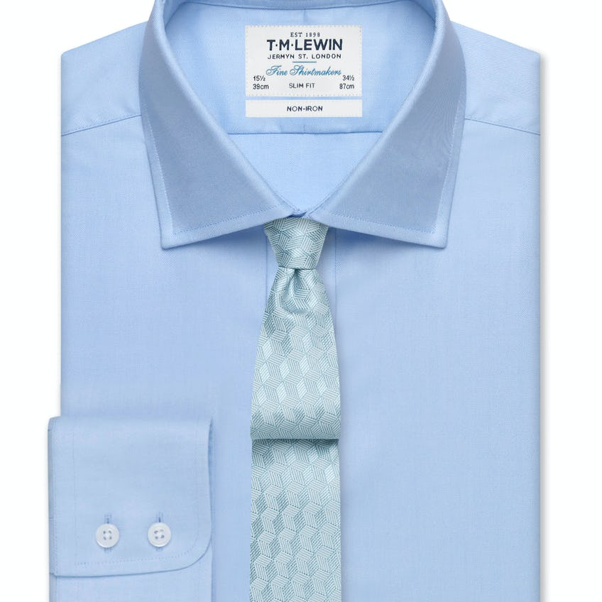 Non-Iron Sky Blue Twill Slim Fit Shirt