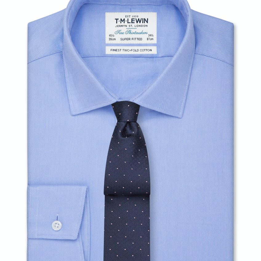 Super Fitted Blue Twill Button Cuff Shirt