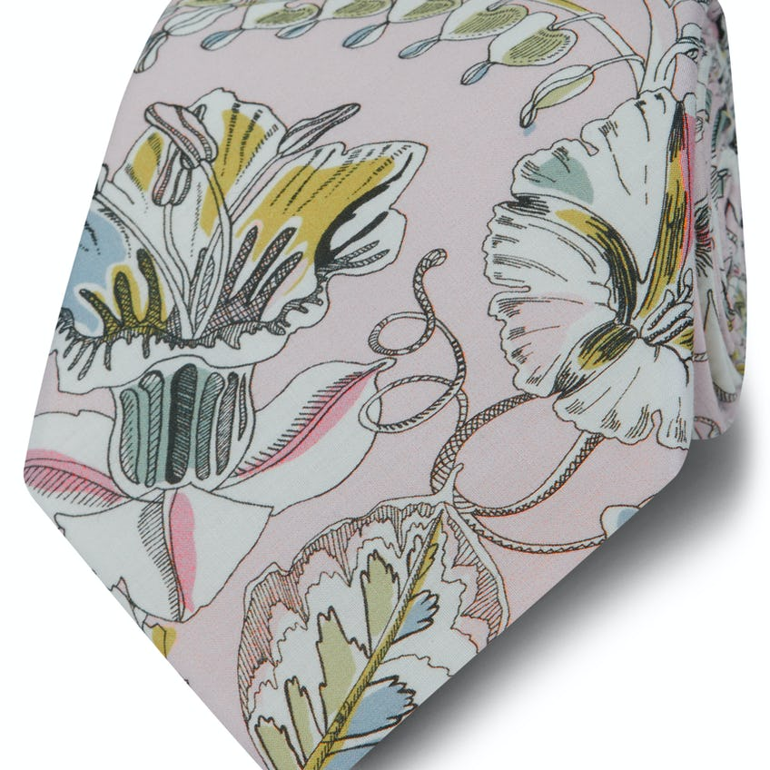 Made with Liberty Fabric Wide Pink Kew Road Print Tie 0