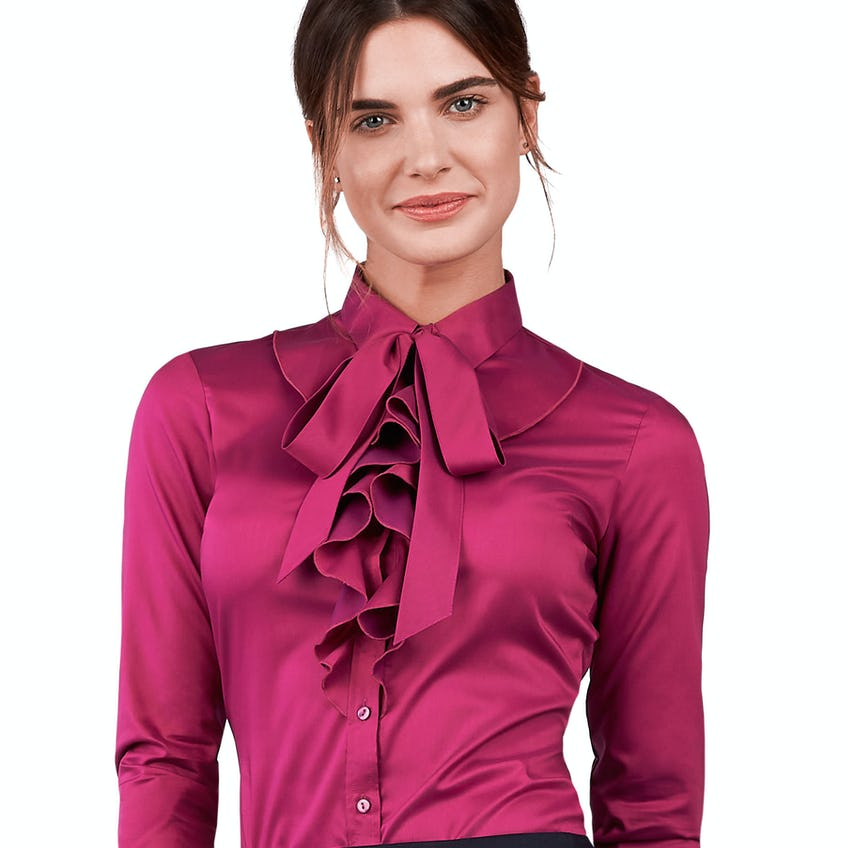 Fitted Magenta Pussybow Fine Twill Shirt 0