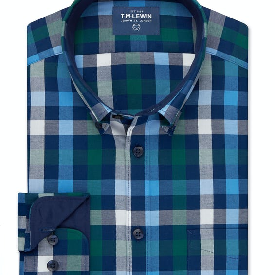 Gingham Slim Fit Green and Blue Single Cuff Shirt 0