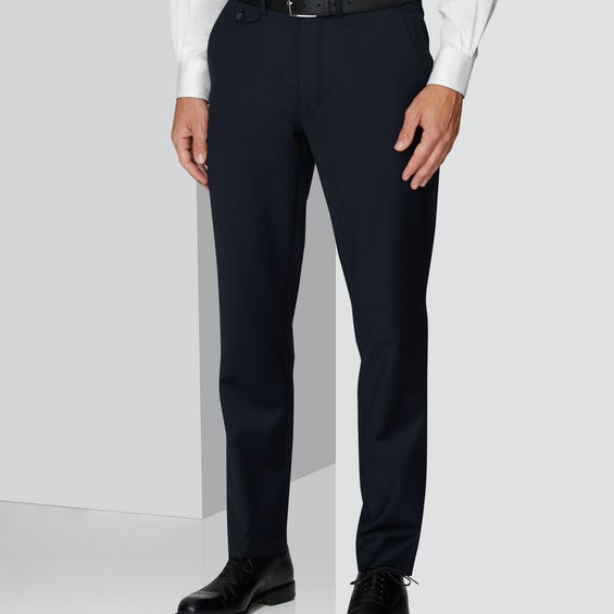 Connery Tailored Fit Navy Wool Stretch Trouser 0