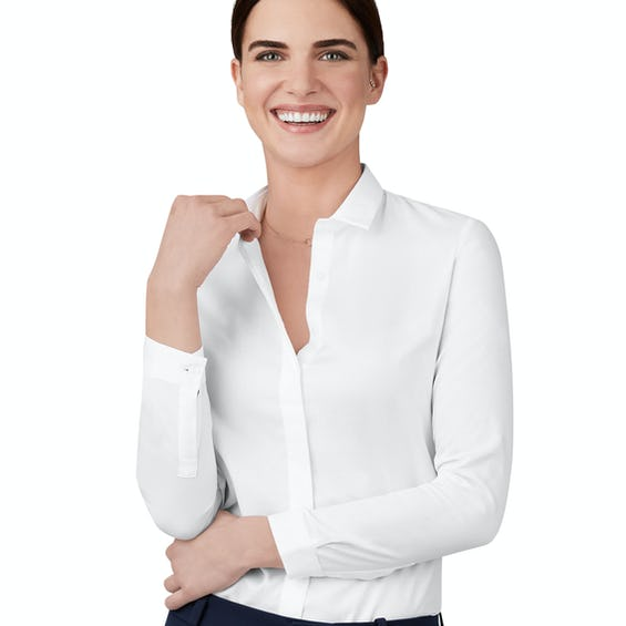 Semi Fitted White Oxford Shirt 0