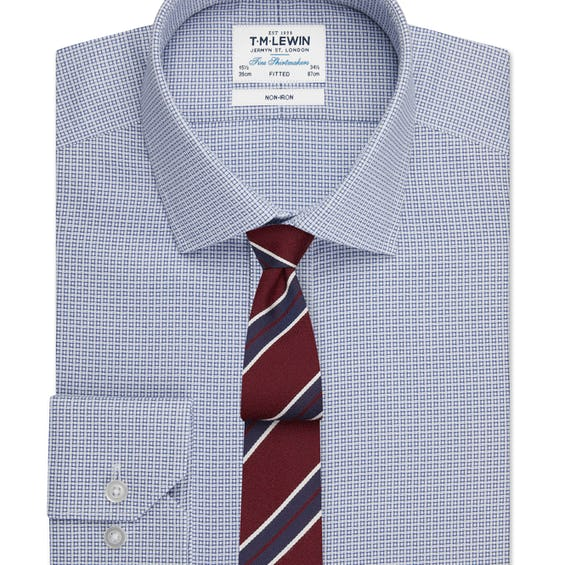 Non-Iron Geo Square Fitted Navy Single Cuff Shirt 0