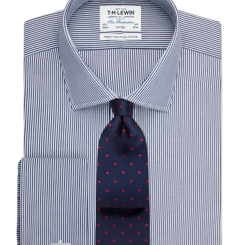 Fitted Navy Bengal Stripe Double Cuff Shirt 0