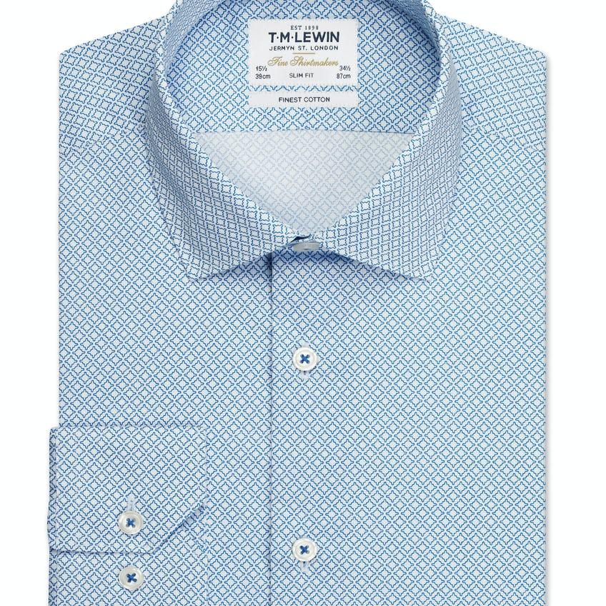Gyroscopic Print Slim Fit Blue Single Cuff Shirt