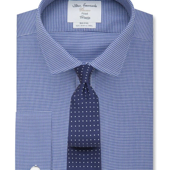 Non-Iron Navy Dogtooth Fitted Shirt 0