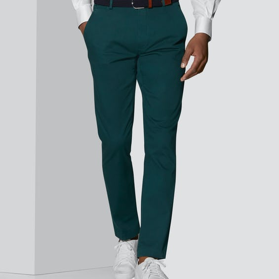 Moretti Extra Slim Fit Teal Textured Chino 0