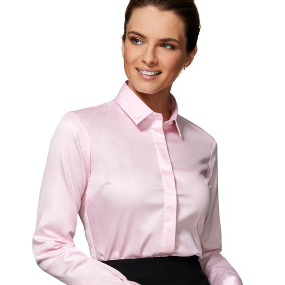 Fitted Pink Stretch Cotton Button Cuff Shirt 0