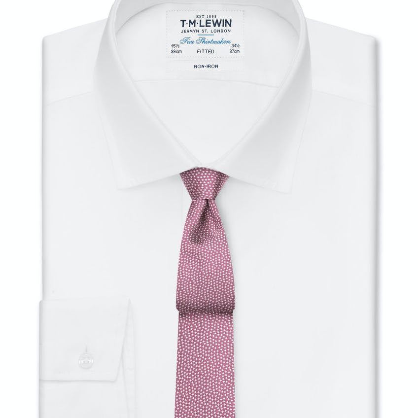 Non-Iron Fitted White Oxford Button Cuff Shirt 0