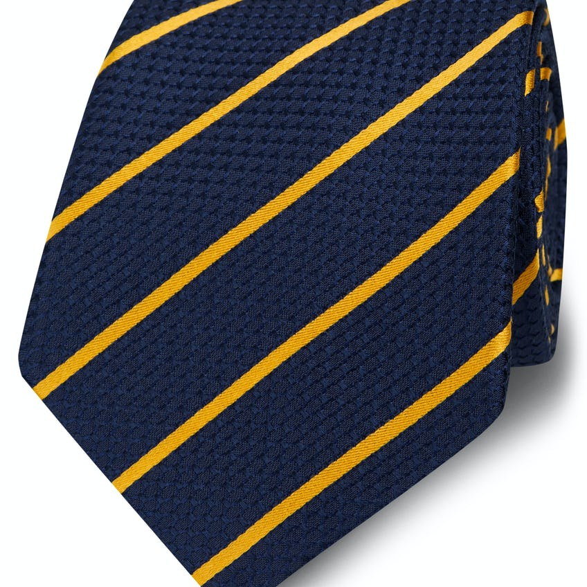 Wide Navy and Yellow Stripe Silk Tie 0