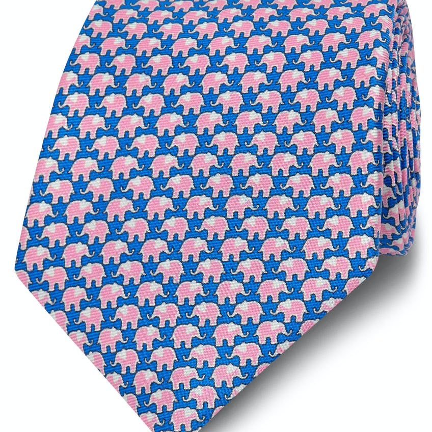 Printed Royal Blue and Pink Elephant Silk Wide Tie 0