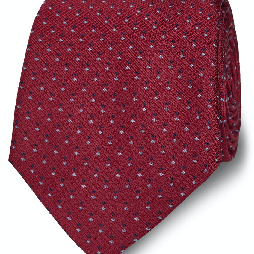Wide Red and Blue Double Dash Silk Tie 0