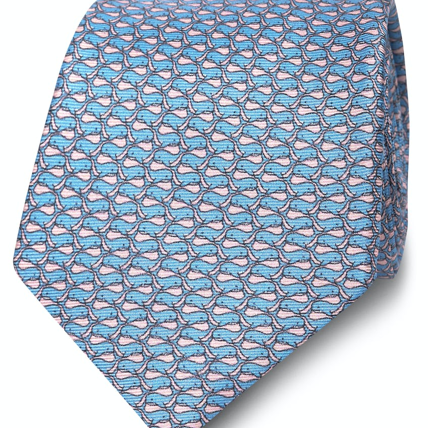 Wide Pink and Blue Whale Print Silk Tie 0