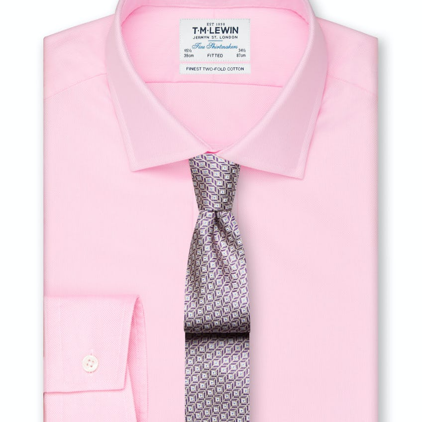 Fitted Pink Oxford Button Cuff Shirt 0