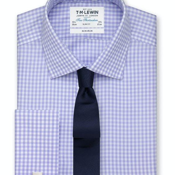 Non-Iron Lilac Gingham Slim Fit Shirt 0