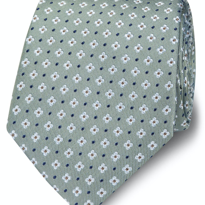 Wide Green, White and Navy Geometric Dot Silk Tie 0