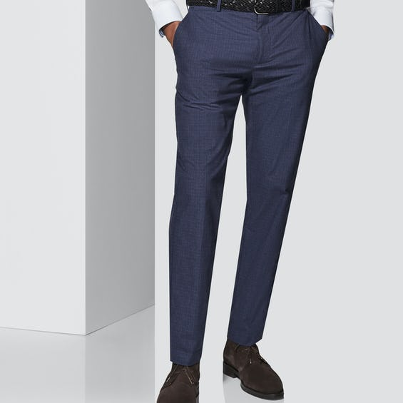 Connery Tailored Fit Navy Check Trouser 0