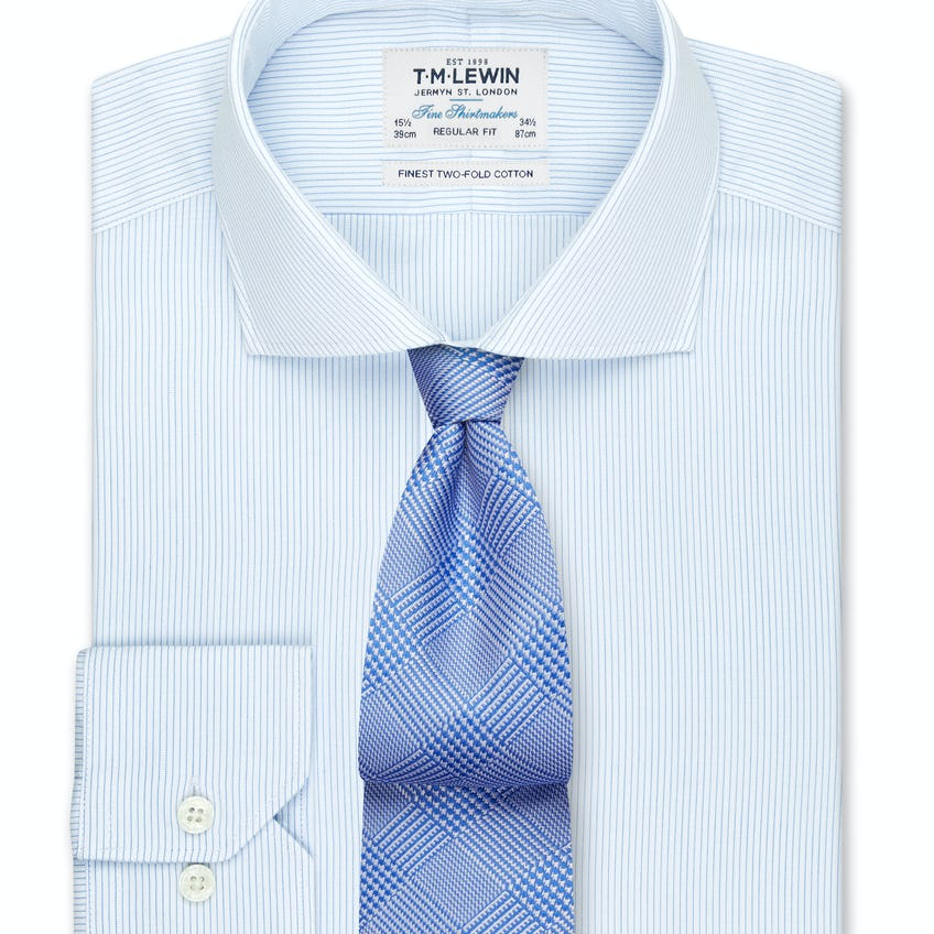 Dobby Fine Stripe Regular Fit Blue Dual Cuff Shirt