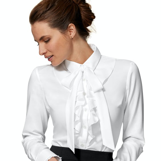 Fitted White Fine Twill Frill Bow Shirt 0