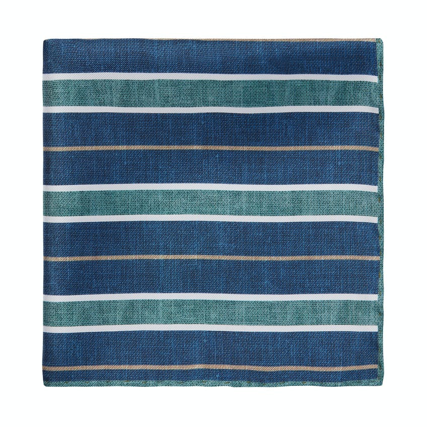 Silk Green and Navy Stripe Pocket Square 0