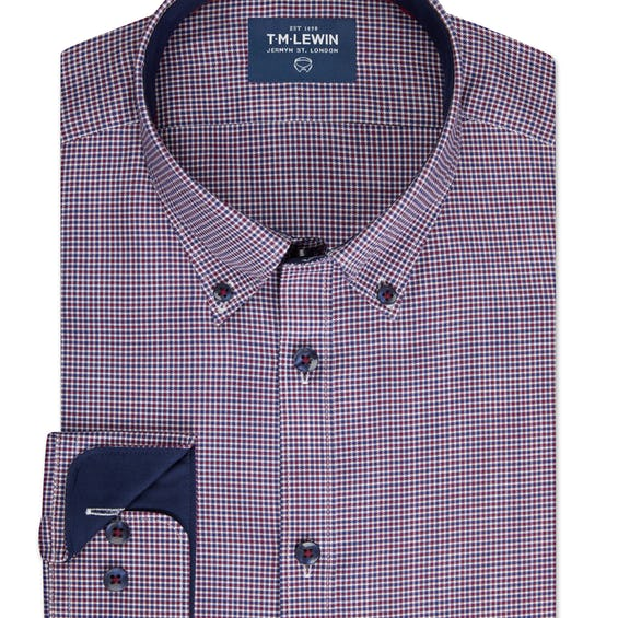 Casual Slim Fit Navy and Red Gingham Single Cuff Shirt 0