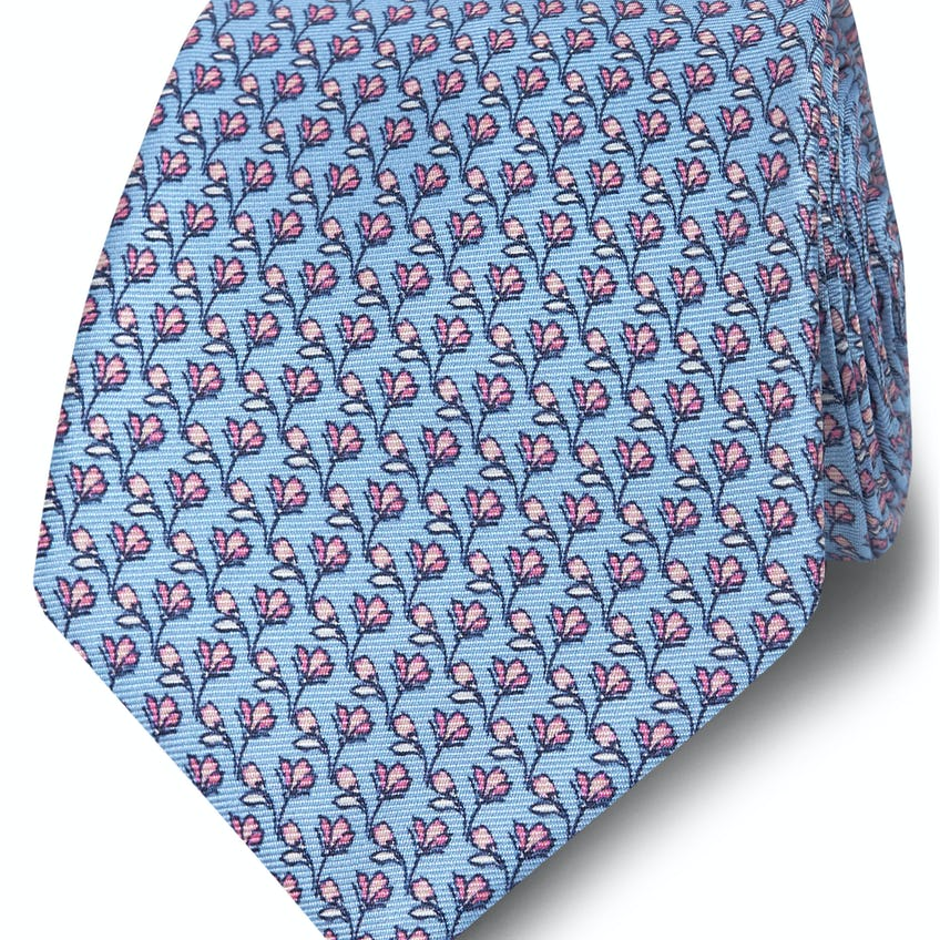 Wide Blue and Pink Floral Print Silk Tie 0