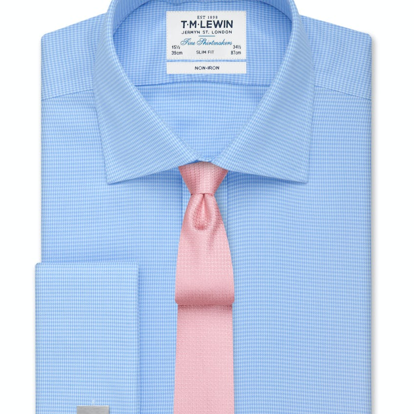 Non-Iron Blue Dogtooth Slim Fit Shirt