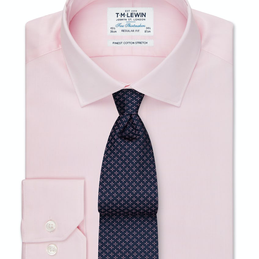 Regular Fit Stretch Pink Button Cuff Shirt