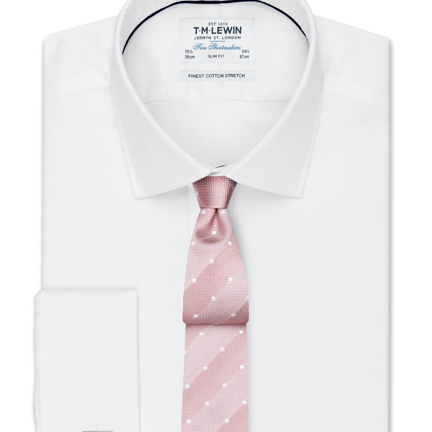 Super Fitted Stretch White Double Cuff Shirt 0