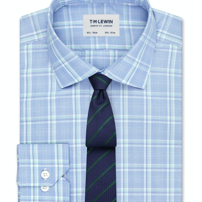 Slim Fit Blue and Green Large Check Dual Cuff Shirt 0